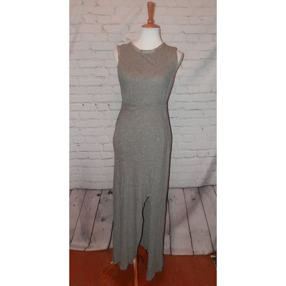 FREE PEOPLE Dress Medium Gray Slub Knit Sexy Maxi